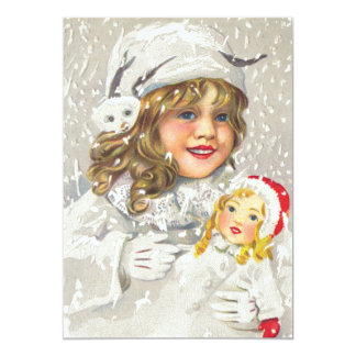 Vintage Christmas Victorian Girl with Doll in Snow Card