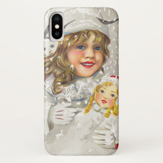 Vintage Christmas Victorian Girl with Doll in Snow iPhone X Case