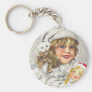 Vintage Christmas Victorian Girl with Doll in Snow Keychain