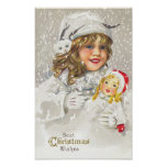 Vintage Christmas Victorian Girl with Doll in Snow Posters