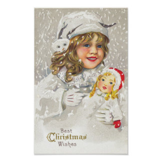 Vintage Christmas Victorian Girl with Doll in Snow Poster