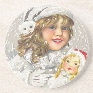 Vintage Christmas Victorian Girl with Doll in Snow Sandstone Coaster