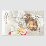 Vintage Christmas Victorian Girl with Doll in Snow Sticker