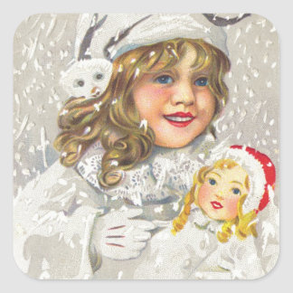 Vintage Christmas Victorian Girl with Doll in Snow Stickers