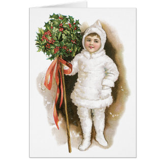 Vintage Christmas, Victorian Girl with Holly Card