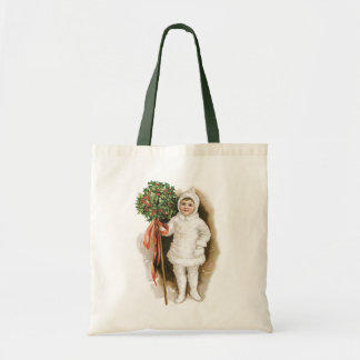 Vintage Christmas, Victorian Girl with Holly Tote Bag