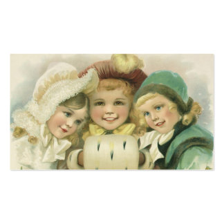 Vintage Christmas Victorian Girls Children Business Card Templates