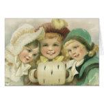 Vintage Christmas, Victorian Girls, Children Card