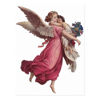 Vintage Christmas, Victorian Guardian Angel Postcard