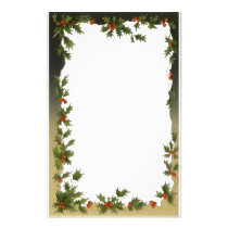 Vintage Christmas, Victorian Holly Leaves Berries Stationery