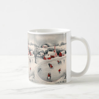Vintage Christmas, Victorian Ice Skaters on Pond Coffee Mug