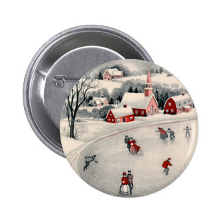 Vintage Christmas, Victorian Ice Skaters on Pond Pinback Button