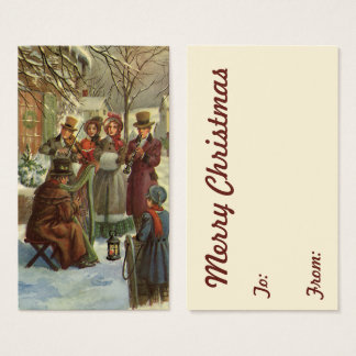 Vintage Christmas, Victorian Musicians Play Music Business Card