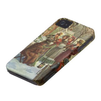 Vintage Christmas, Victorian Musicians Play Music Case-Mate iPhone 4 Case