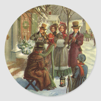 Vintage Christmas, Victorian Musicians Play Music Classic Round Sticker