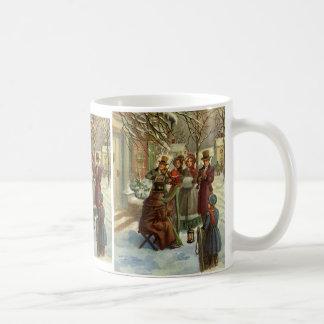 Vintage Christmas, Victorian Musicians Play Music Coffee Mug