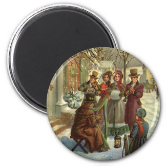 Vintage Christmas, Victorian Musicians Play Music Magnet