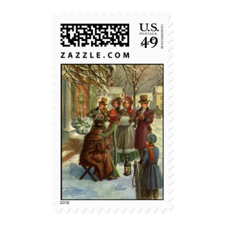 Vintage Christmas, Victorian Musicians Postage Stamp