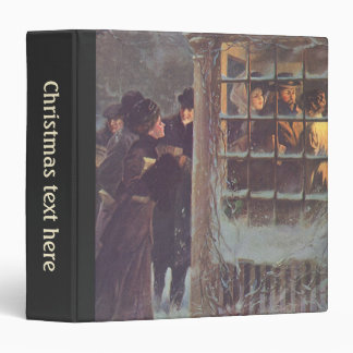 Vintage Christmas, Victorian People at a Party 3 Ring Binder
