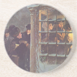 Vintage Christmas, Victorian People at a Party Coaster