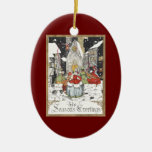 Vintage Christmas, Victorian People at Church Christmas Ornament
