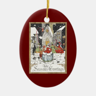 Vintage Christmas Victorian People at Church Christmas Ornament