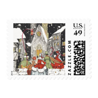 Vintage Christmas, Victorian People at Church Postage