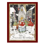 Vintage Christmas, Victorian People at Church Postcard