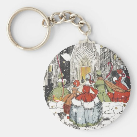 Vintage Christmas Victorian People Going to Church Keychain