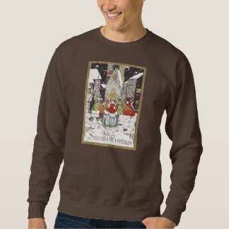 Vintage Christmas Victorian People Going to Church Sweatshirt