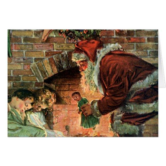 Vintage Christmas, Victorian Santa Claus Children Card