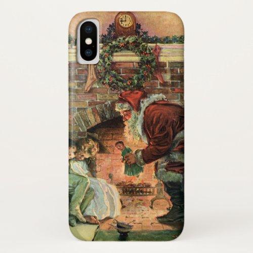 Vintage Christmas Victorian Santa Claus Children iPhone XS Case