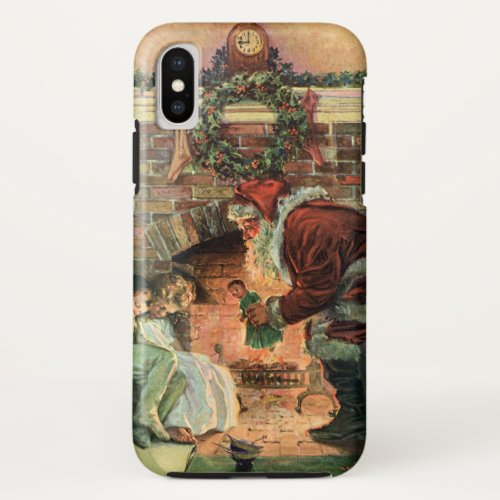 Vintage Christmas Victorian Santa Claus Children iPhone X Case