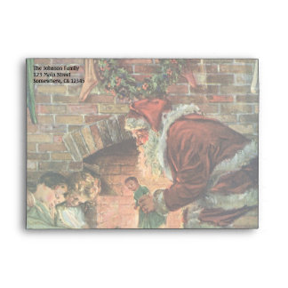 Vintage Christmas, Victorian Santa Claus Children Envelope