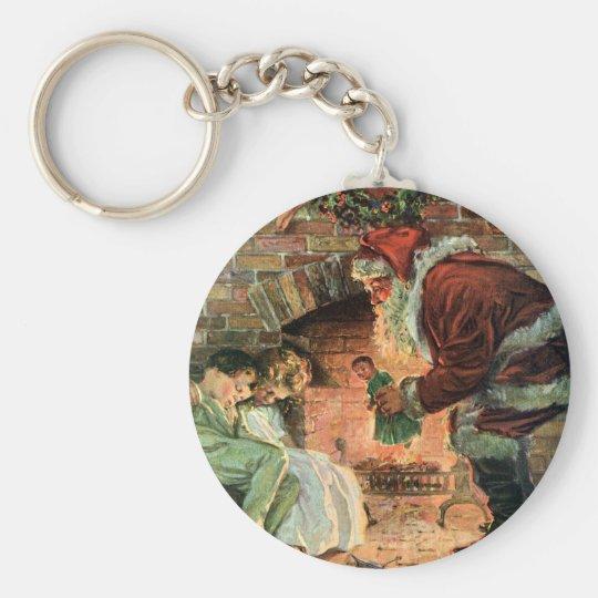 Vintage Christmas, Victorian Santa Claus Children Keychain