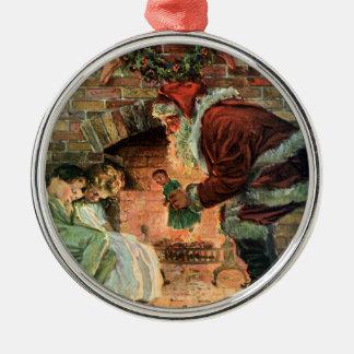 Vintage Christmas, Victorian Santa Claus Children Metal Ornament