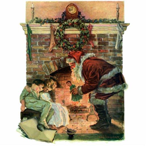 Vintage Christmas, Victorian Santa Claus Children Photo Sculpture Ornament