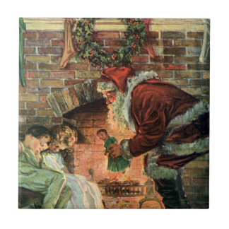 Vintage Christmas, Victorian Santa Claus Children Small Square Tile