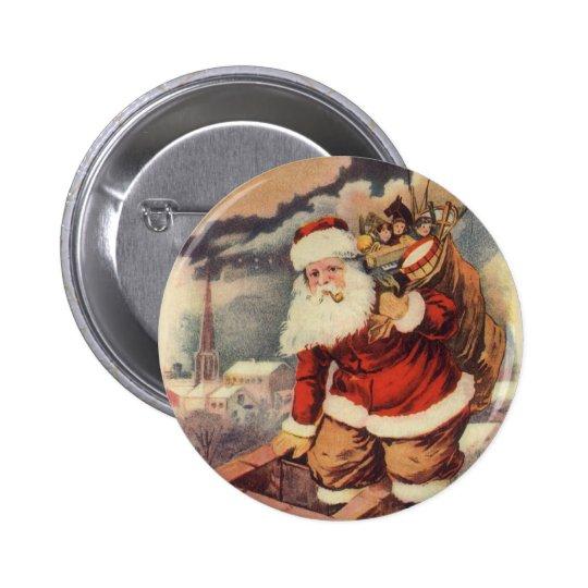 Vintage Christmas, Victorian Santa Claus Chimney Button