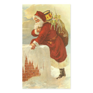 Vintage Christmas, Victorian Santa Claus Chimney Double-Sided Standard Business Cards (Pack Of 100)