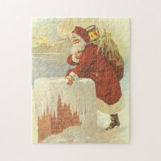 Vintage Christmas, Victorian Santa Claus Chimney Jigsaw Puzzle