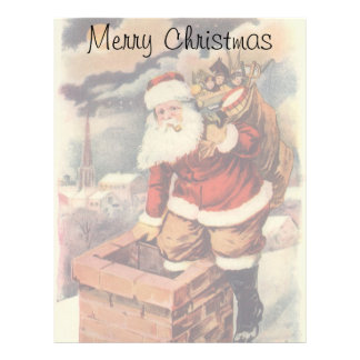 Vintage Christmas, Victorian Santa Claus Chimney Letterhead