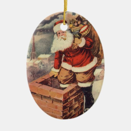 Victorian Father Christmas Decorations: Vintage Christmas, Victorian Santa Claus Chimney Christmas