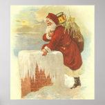 Vintage Christmas, Victorian Santa Claus Chimney Poster