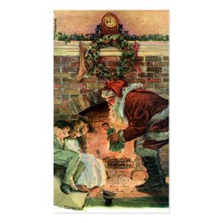 Vintage Christmas, Victorian Santa Claus Fireplace Business Card Templates
