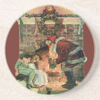 Vintage Christmas, Victorian Santa Claus Fireplace Beverage Coasters