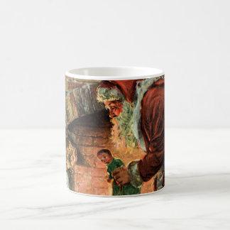 Vintage Christmas Victorian Santa Claus Fireplace Coffee Mugs