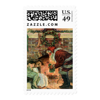 Vintage Christmas, Victorian Santa Claus Fireplace Stamps