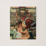 Vintage Christmas, Victorian Santa Claus Fireplace Jigsaw Puzzle