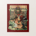 Vintage Christmas, Victorian Santa Claus Fireplace Puzzle